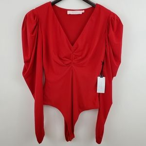 ASTR The Label Puff Sleeve V-Neck Bodysuit